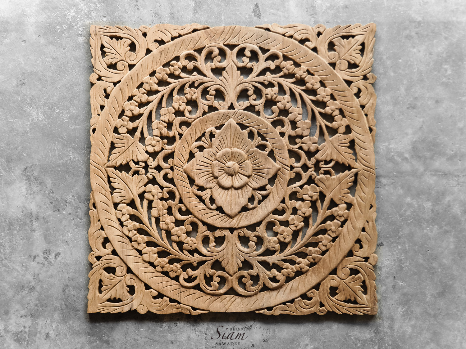 Carved Wood Wall Hanging Buy Carved Wooden Lotus Wall Hanging Panel Online