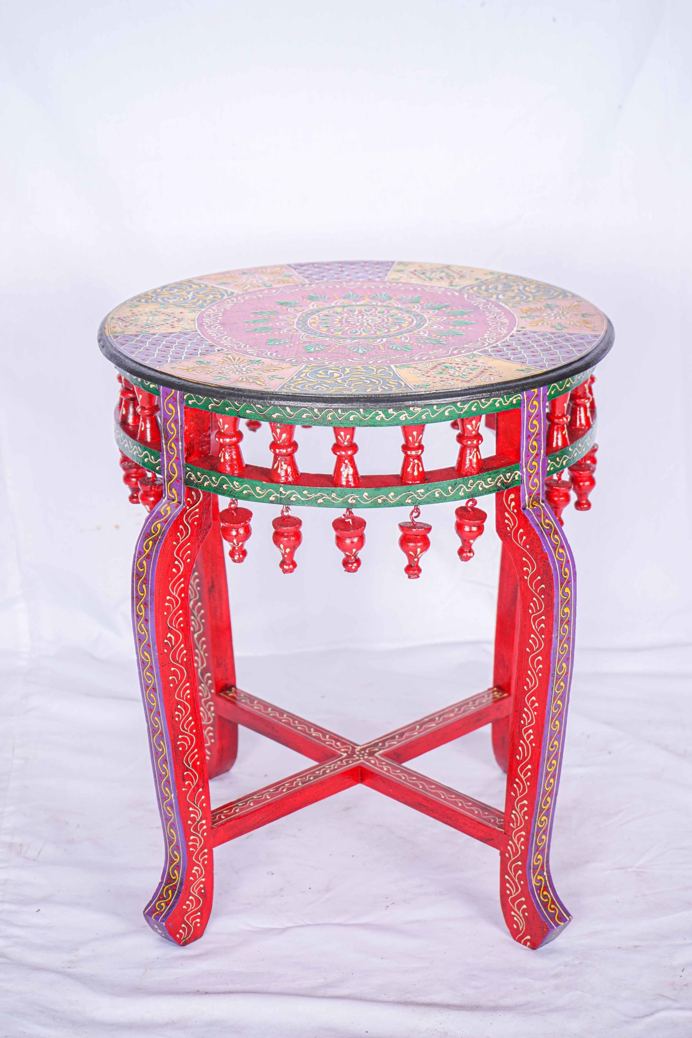 Clearance Sale Wooden Hand Painted Table Indian Design Siam Sawadee
