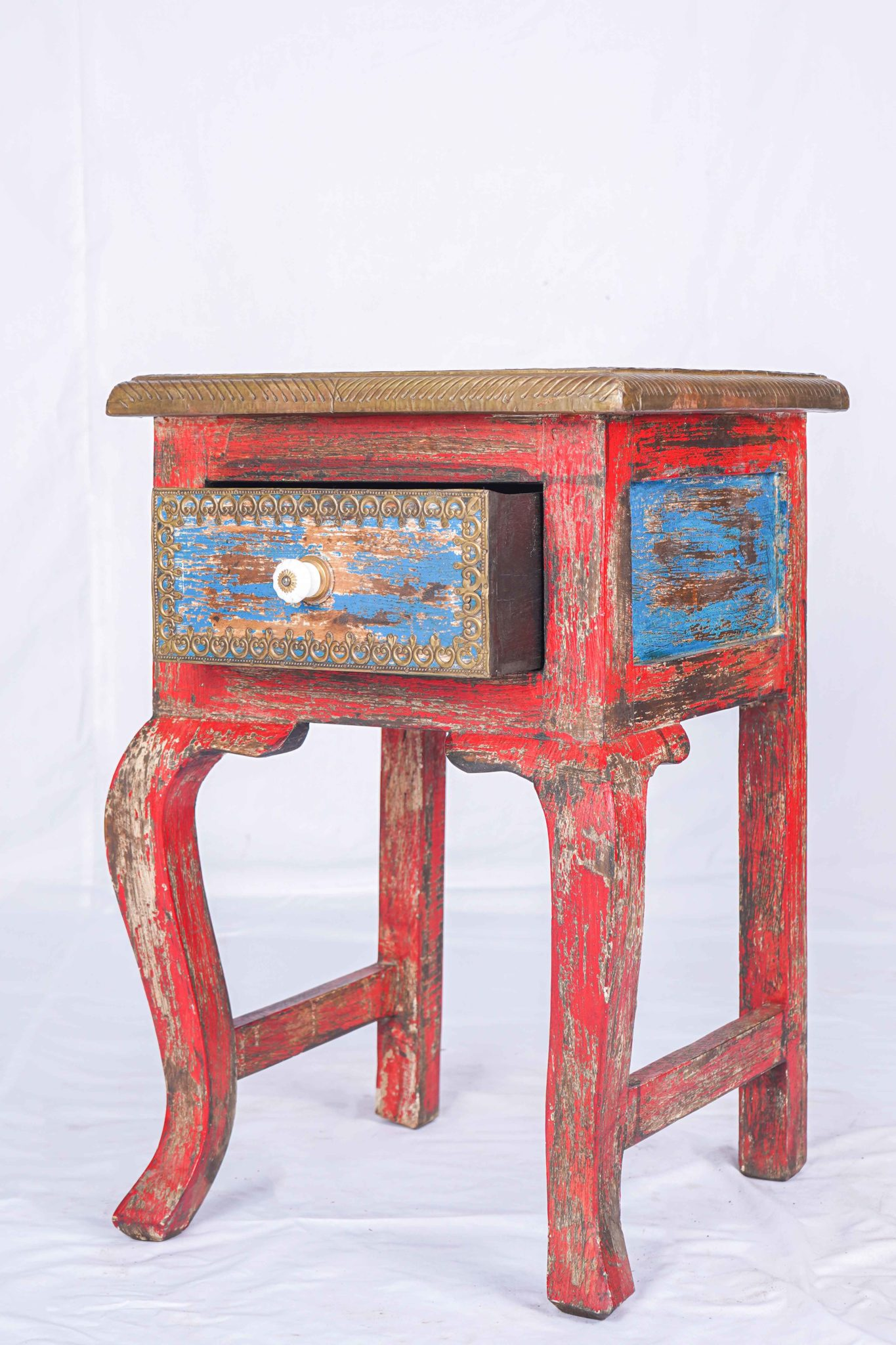 Clearance Sale Antique Red Painted Side Table Indian Design Siam Sawadee
