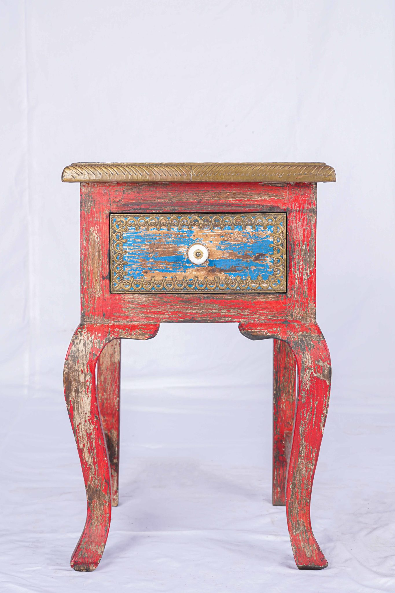 Clearance Sale: Antique red painted side table, Indian design - Siam Sawadee