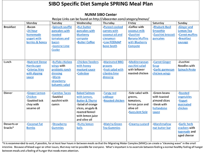 SIBO Specific Diet Meal Plan - SIBO Center - basic meal planner