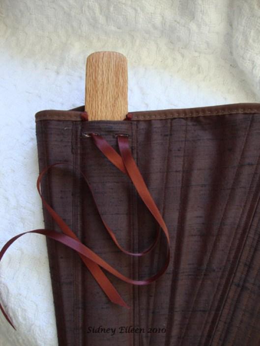 Brown Silk Renaissance Stays - Busk in Pocket Detail, by Sidney Eileen