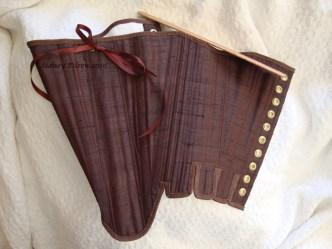 Brown Silk Renaissance Stays - Busk Side, by Sidney Eileen