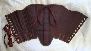 Brown Silk Renaissance Stays - Flat, by Sidney Eileen