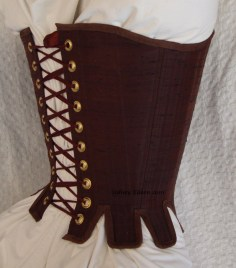 Brown Silk Renaissance Stays - Quarter Back View, by Sidney Eileen