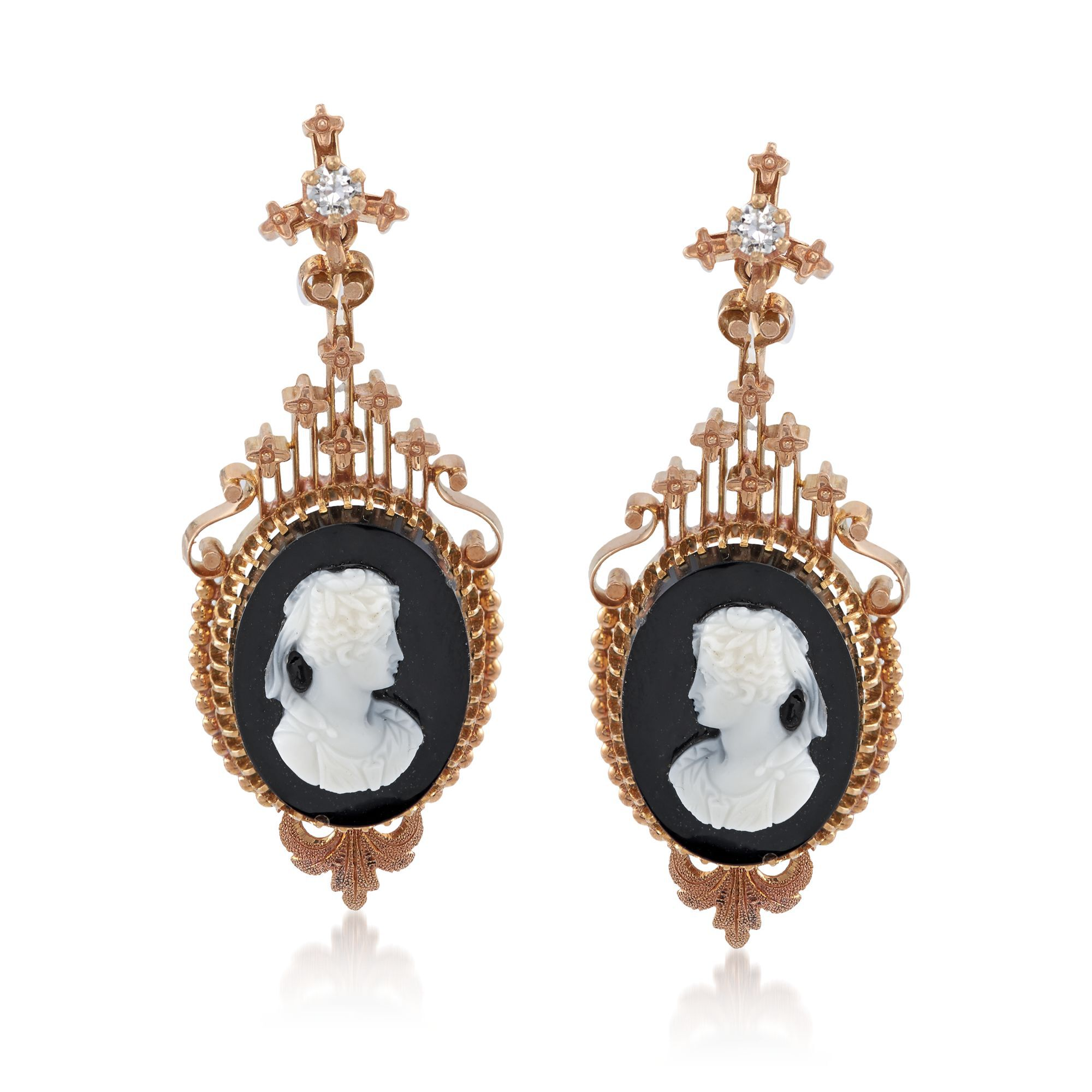 Art Deco Style Jewelry Boxes C 1930 Vintage Carved Cameo Agate And 25 Ct T W Diamond Drop Earrings In 14kt Yellow Gold