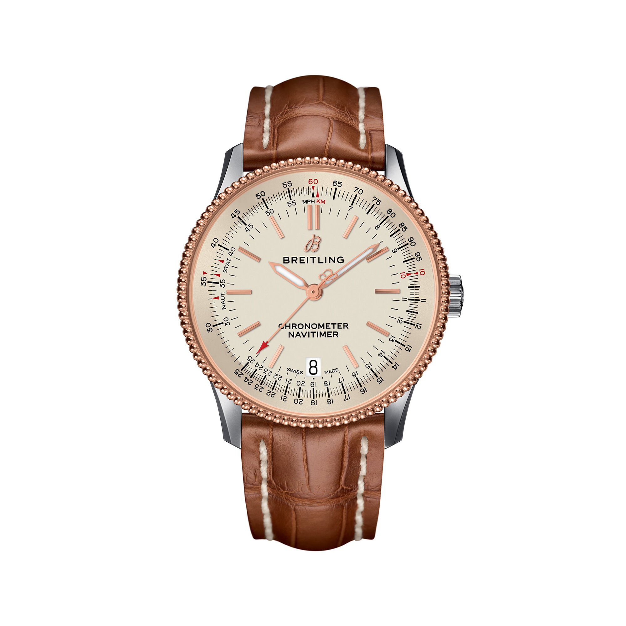 Leather Strap Rose Gold Watch Breitling Navitimer 1 Men S 38mm Stainless Steel And 18kt Rose Gold Watch Brown Leather Strap