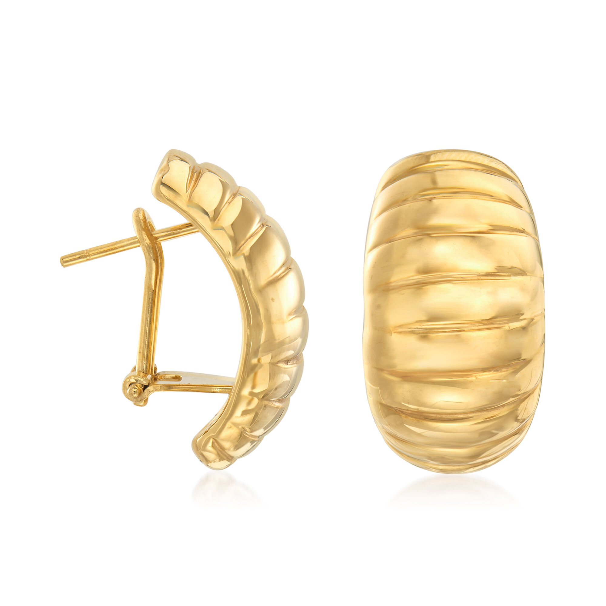 Italy Design Jewelry Italian 18 Karat Yellow Gold Ribbed Earrings