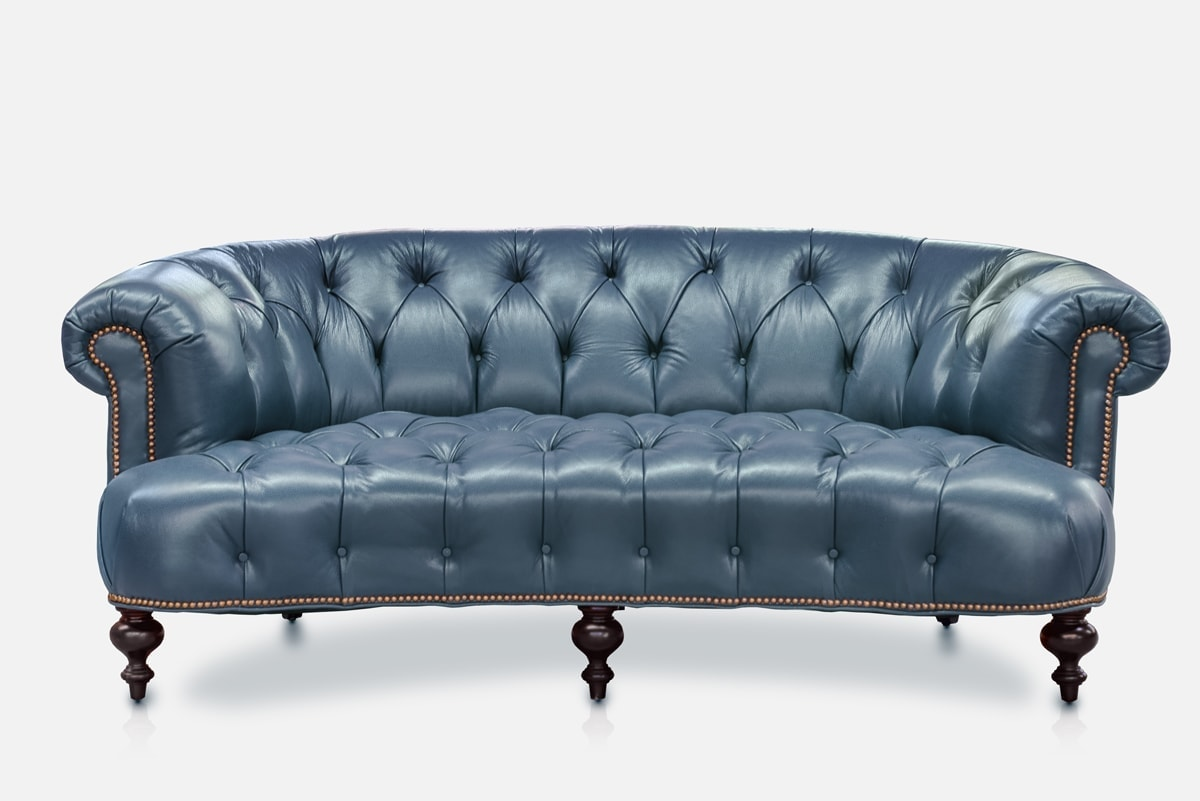Sofa In Chesterfield Look The Truman Elegant Curved Chesterfield Of Iron Oak