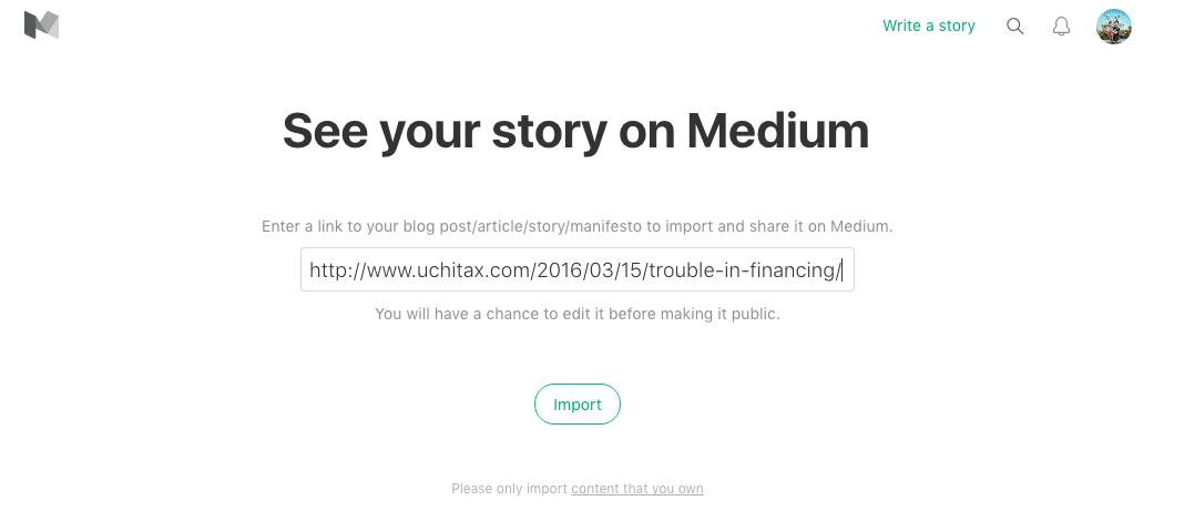 mediumインポート