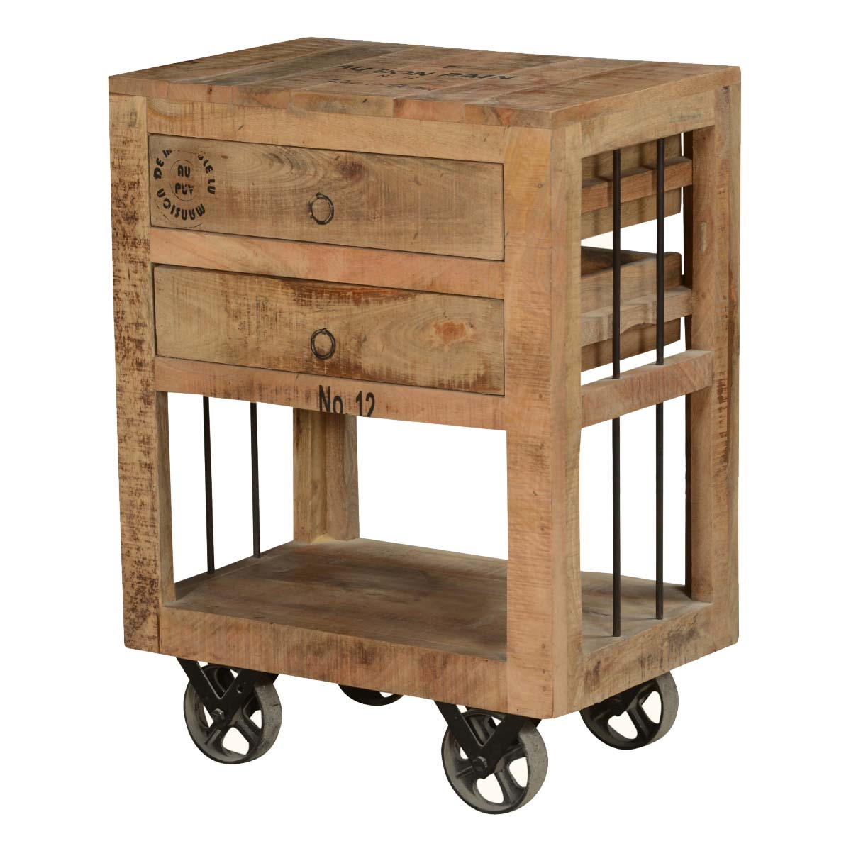 Table On Wheels Industrial Style Rustic Solid Wood 2 Drawer End Table W Rolling