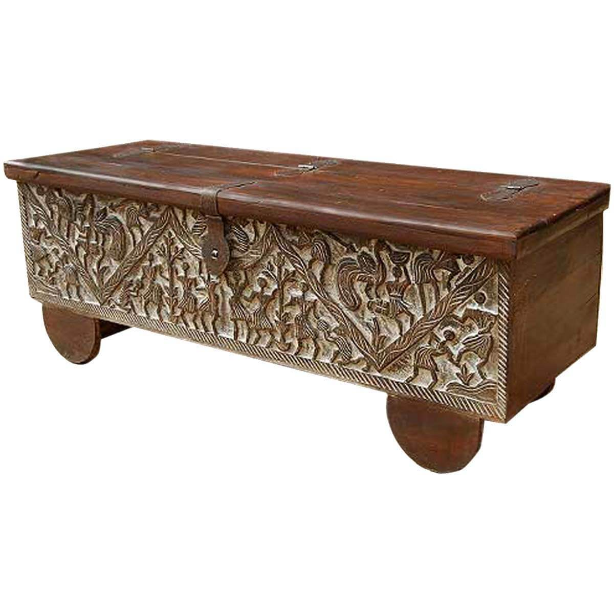 Wood Coffee Table With Storage Masterpiece Hand Carved Mango Wood Storage Trunk Coffee Table