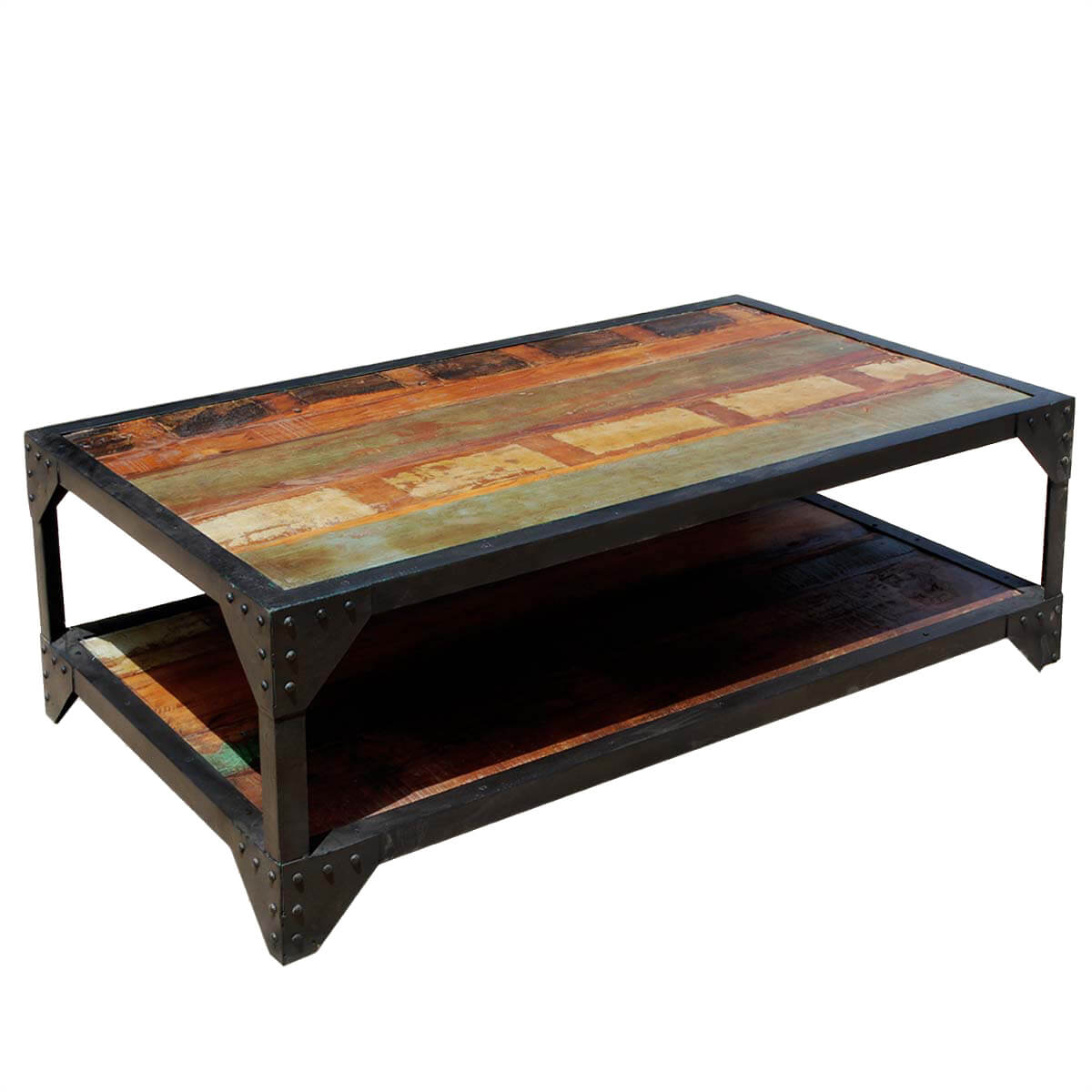 Industrial Coffee Table Molino Reclaimed Wood 2 Tier Wrought Iron Industrial