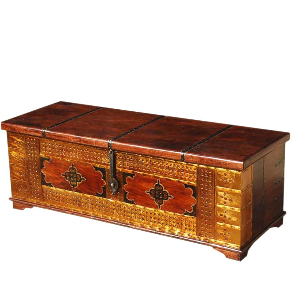 Wood Coffee Table With Storage Unique Handmade Solid Wood Brass Coffee Table Storage Chest