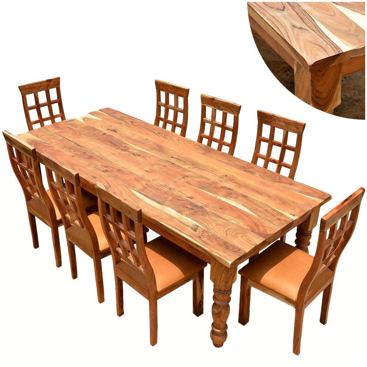 Viva Mexico Chair Rustic Furniture Farmhouse Solid Wood Dining Table Chair Set