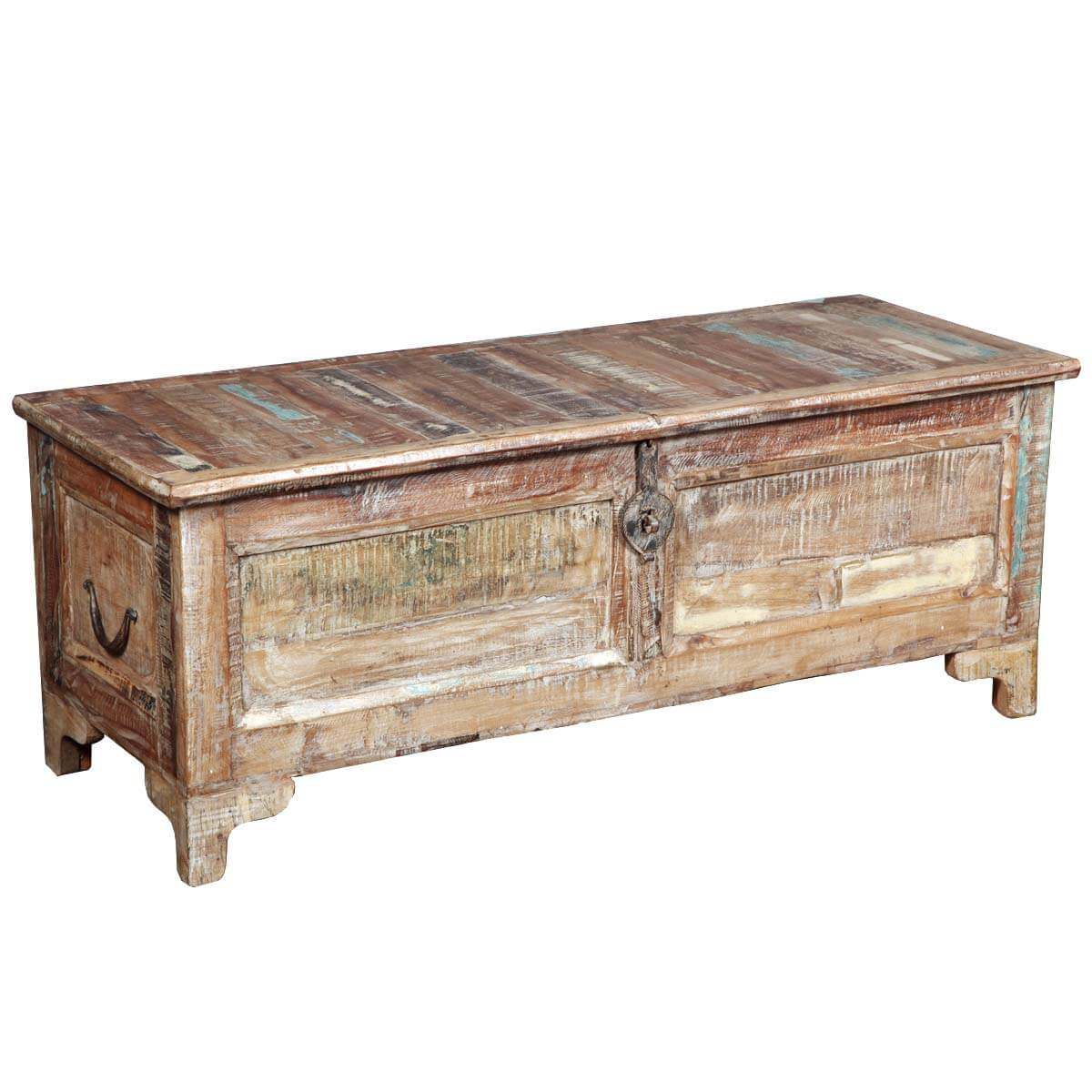 Wood Coffee Table With Storage Rustic Reclaimed Wood Storage Coffee Table Chest