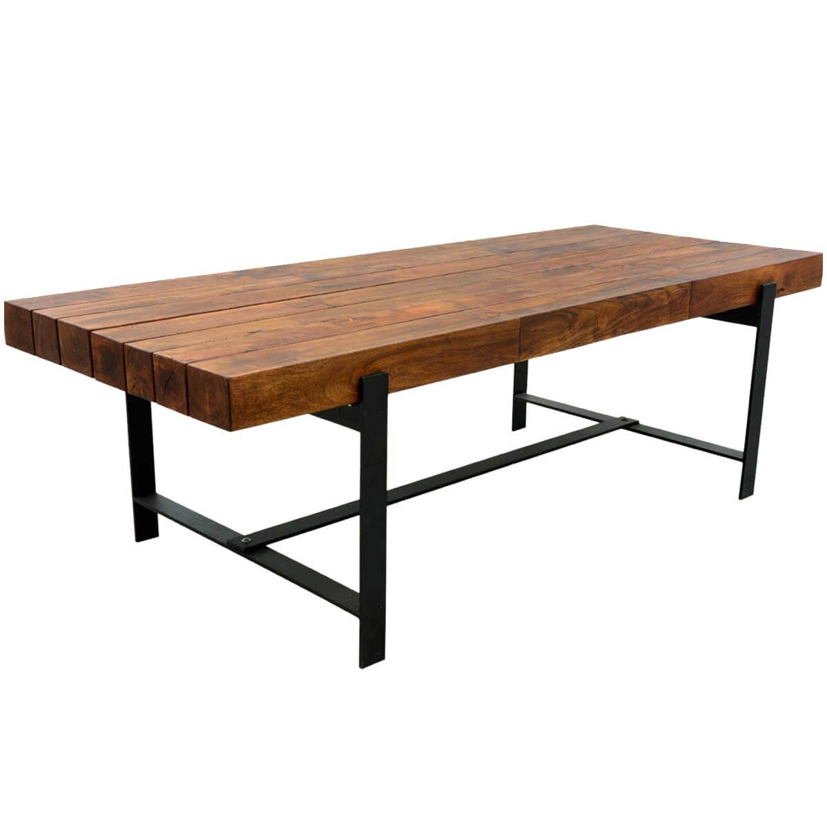 Acacia Dining Table Industrial Iron And Acacia Wood 94 Quot Large Rustic Dining Table