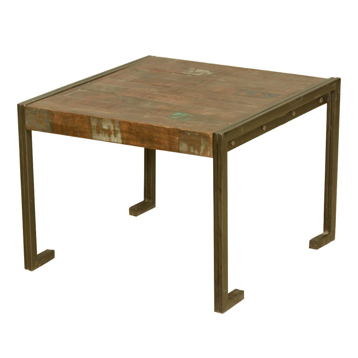 Industrial Look End Tables Industrial Style Old Reclaimed Wood Metal Frame Rustic End