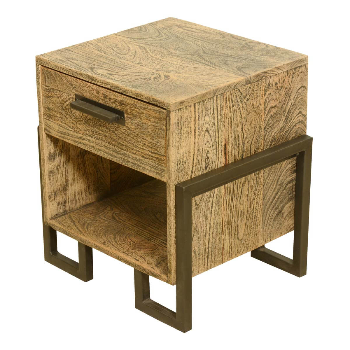 Industrial Look End Tables Industrial Style Rustic Solid Wood And Iron Bedside End