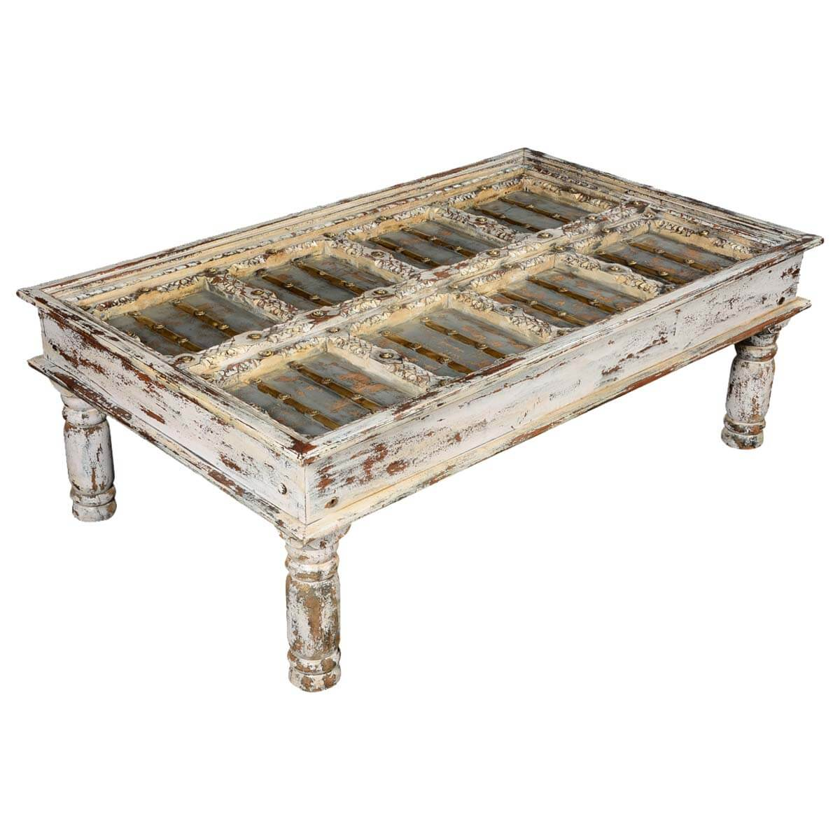 Coffee Table White Wood Winter White Distressed Mango Wood Coffee Table
