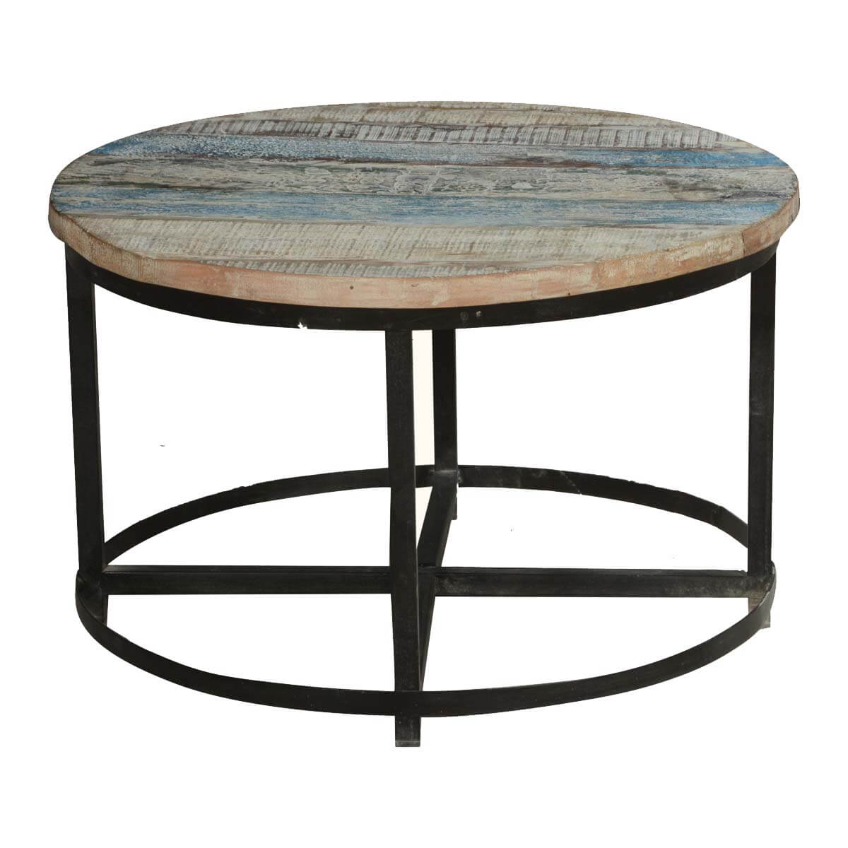 Round Industrial End Table Bithlo Reclaimed Wood Top Round Industrial Coffee Table