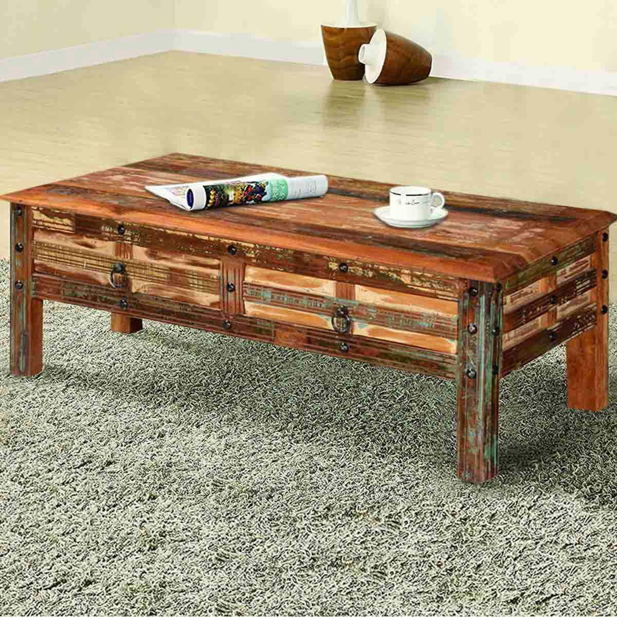 Couchtisch Rustikal Holz Pioneer Rustic Reclaimed Wood 2 Drawer Coffee Table
