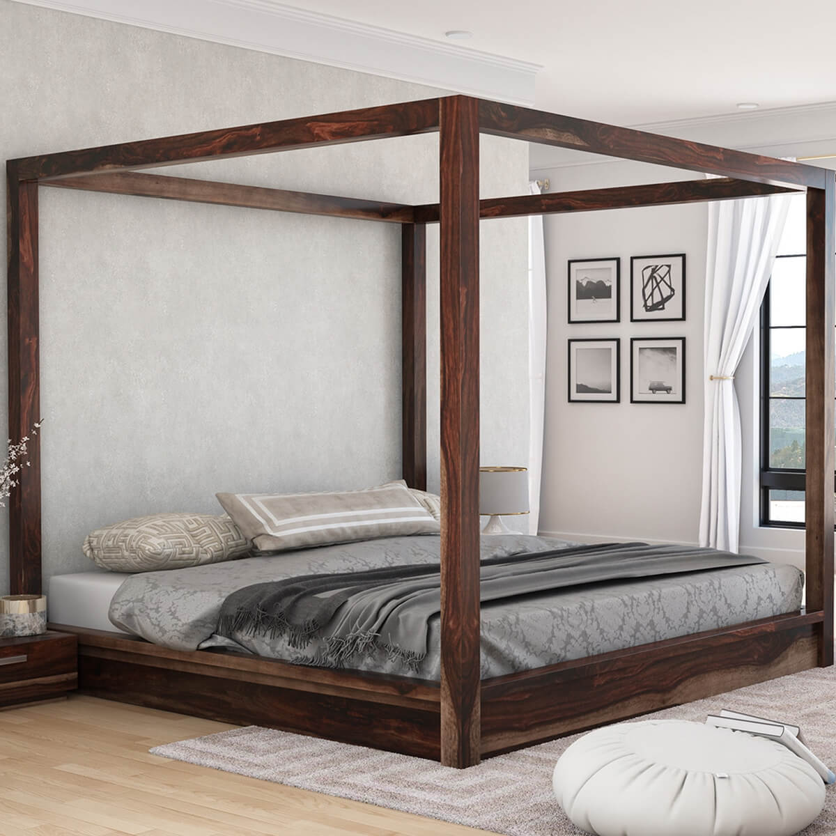 Solid Wood Bed Hampshire Solid Wood Contemporary Platform Canopy Bed