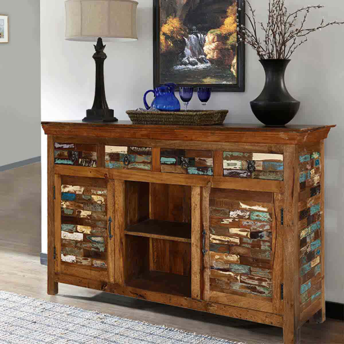 Sideboard Cabinet Tangier Mosaic Rustic Reclaimed Wood 4 Drawer Accent