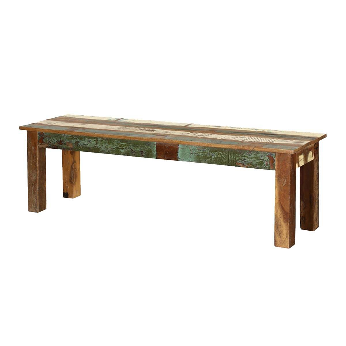 Long Table Benches Rustic Rainbow Reclaimed Wood 58 Long Bench