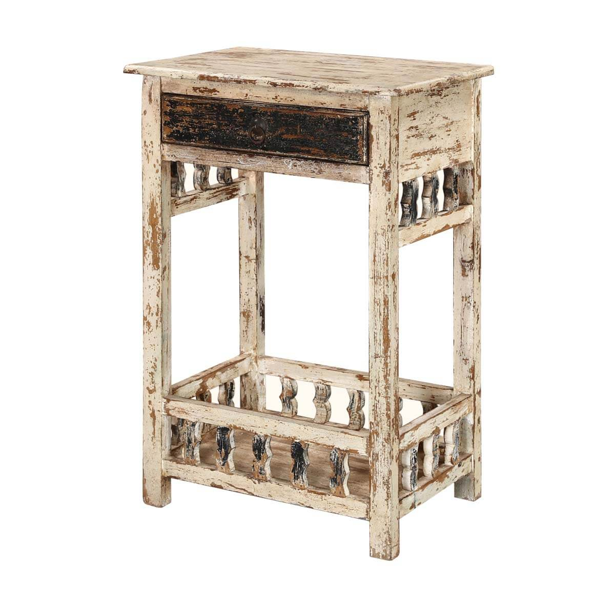 White Wooden End Tables Winter White Distressed Mango Wood 35 Nightstand End Table