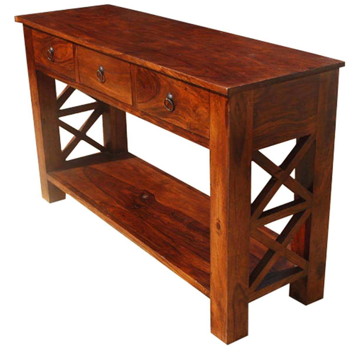 Farmhouse Console Table Solid Wood Oklahoma Farmhouse Console Table W 3 Storage
