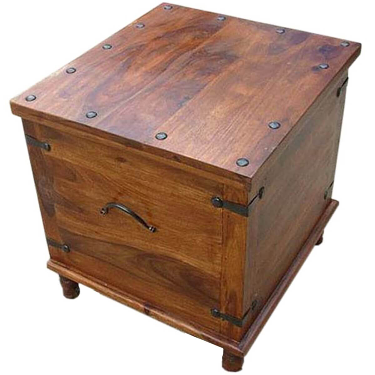 Box End Table Square Wood With Metal Storage Trunk Box Accent Table