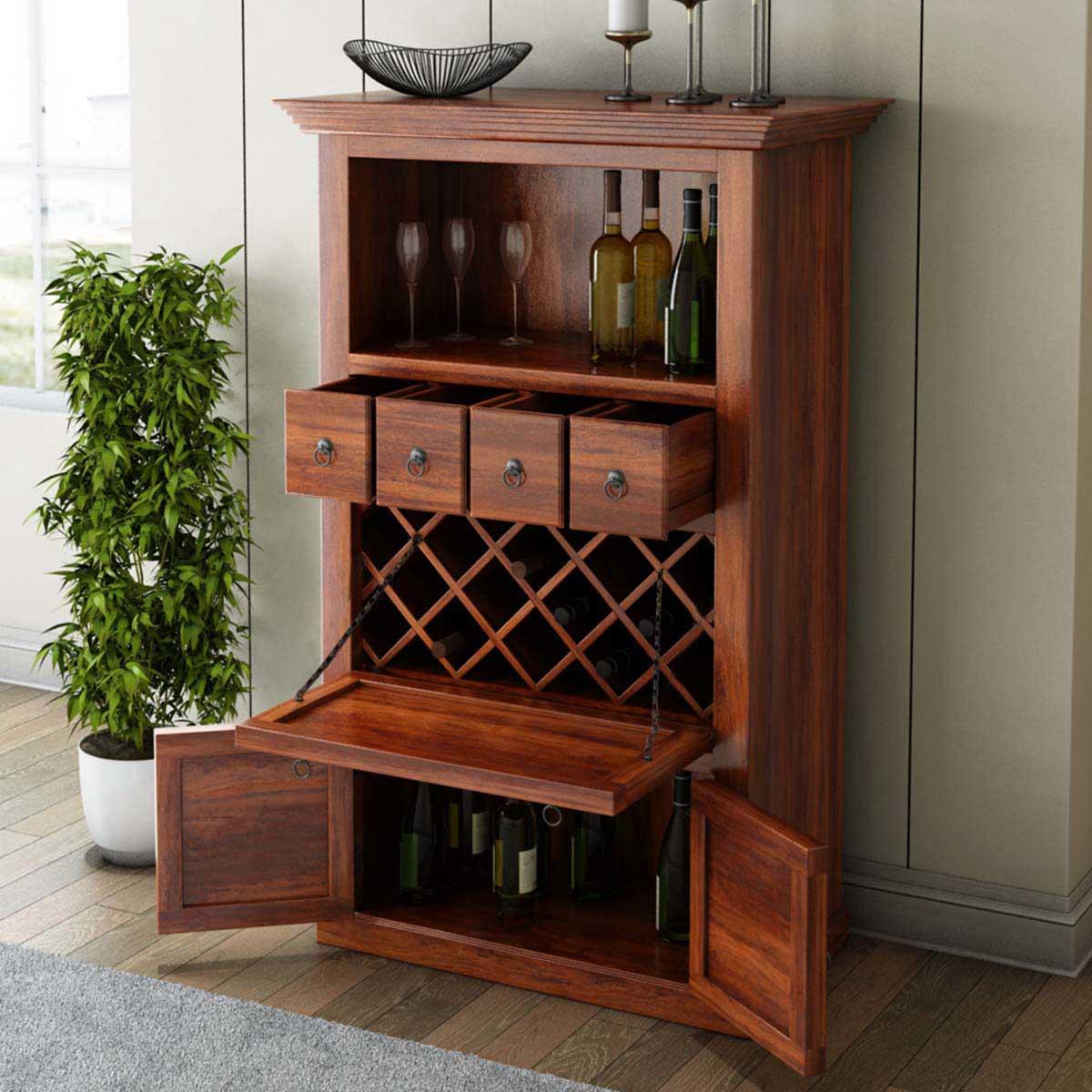 Wood Wine Storage Alabama Spacious Handcrafted Solid Wood Bar Cabinet With