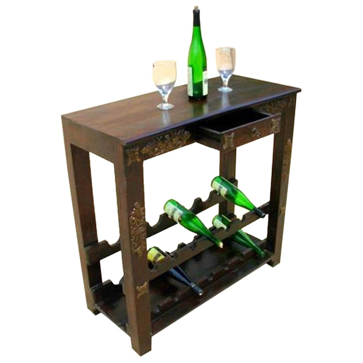 Antique Wooden Wine Rack Highvale Antique Brass Inlay Solid Wood Wine Rack Console