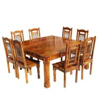 Solid Wood Rustic Square Dining Table Chairs Set ...