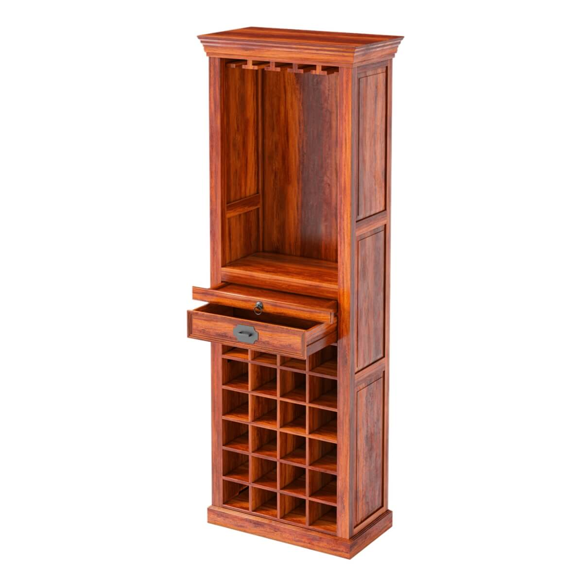 Wood Wine Storage Lovedale Rustic Mango Wood Tower Bar Cabinet With Wine Storage