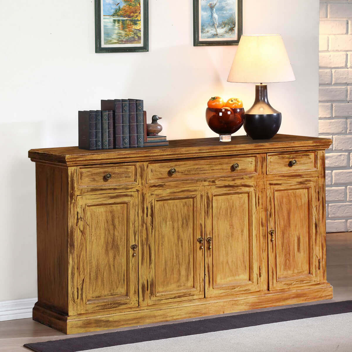 Side Board Courtdale Rustic Solid Wood 4 Door 3 Drawer Sideboard Cabinet