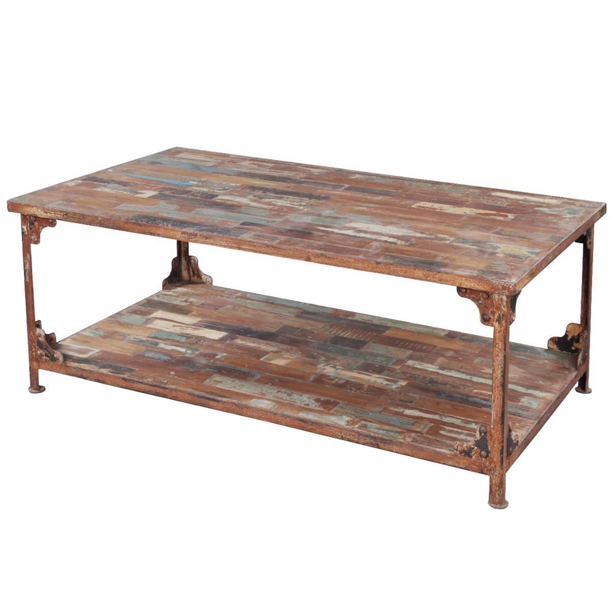 Wrought Iron And Wood End Tables Distressed Reclaimed Wood Wrought Iron Industrial Rustic