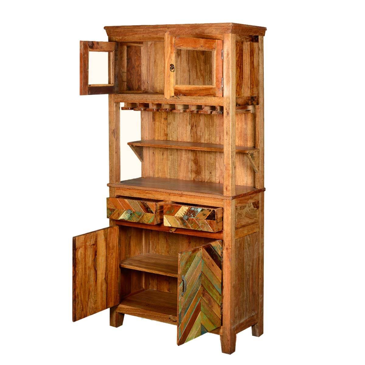 Rustic Reclaimed Wood Wine Bar Hutch Sideboard With Glass