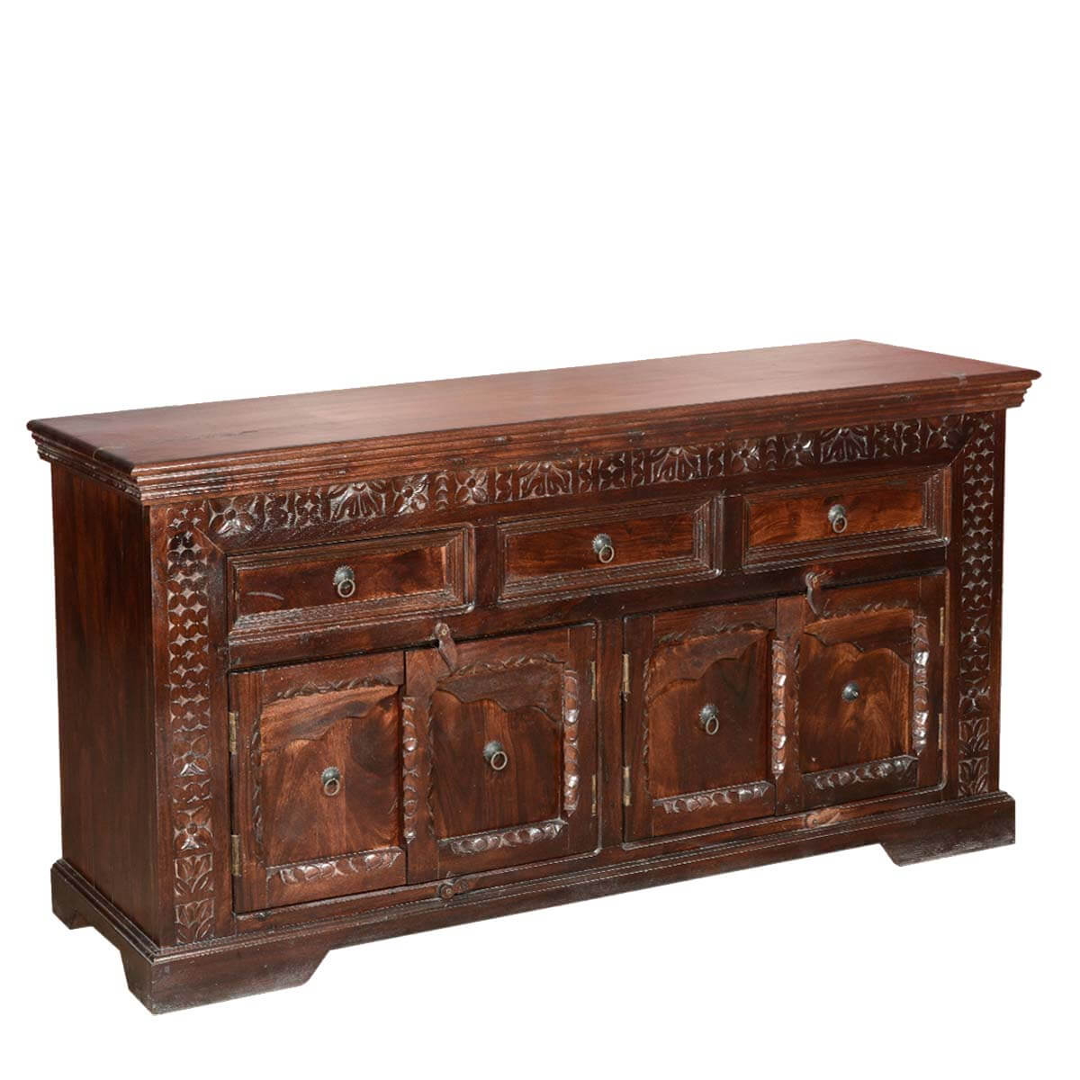 Side Board Empire Rustic Solid Wood 4 Door 3 Drawer Sideboard