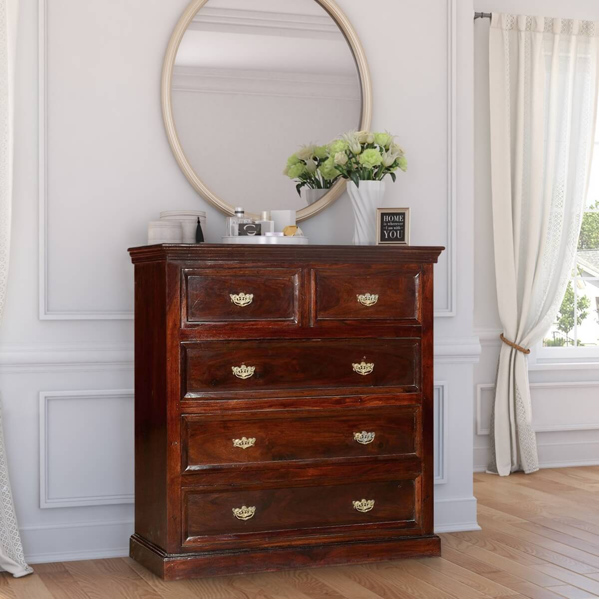 5 Drawer Dresser Colonial Solid Wood 5 Drawer Standard Vertical Chest