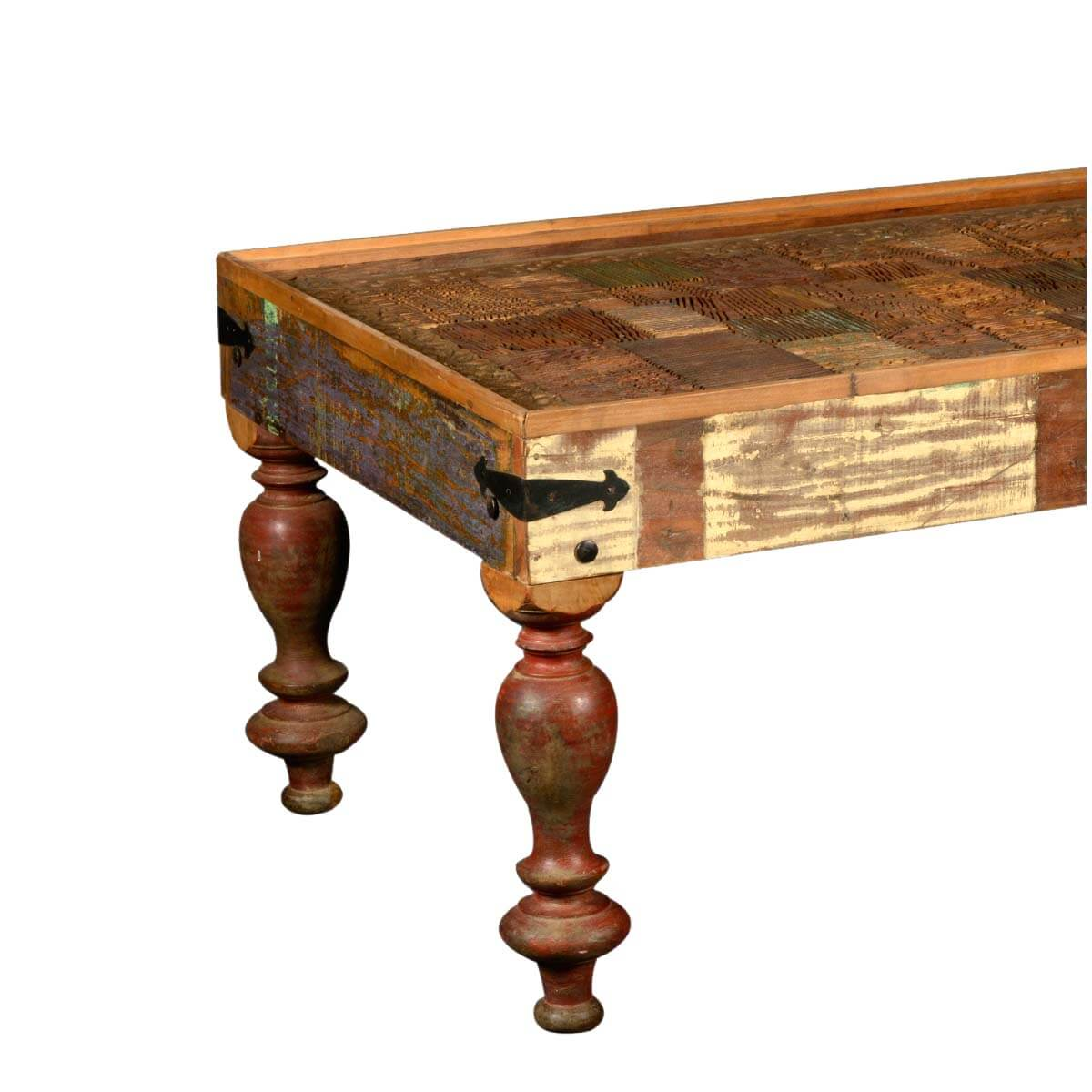 Couchtisch Klassisch Holz Reclaimed Wood Classic Country Style Rectangular Coffee Table