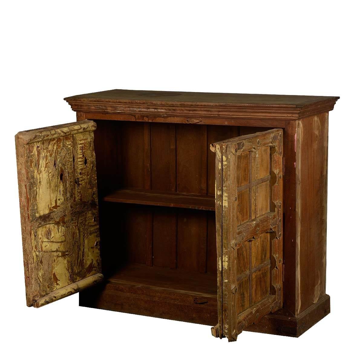 2 Door Rustic Reclaimed Wood Buffet Storage Accent Cabinet
