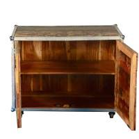 Rustic Industrial Reclaimed Wood Rolling Storage Cabinet ...