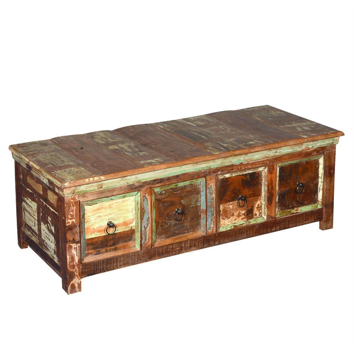 Wood Coffee Table With Storage Rustic Reclaimed Wood Coffee Table With Storage Drawers