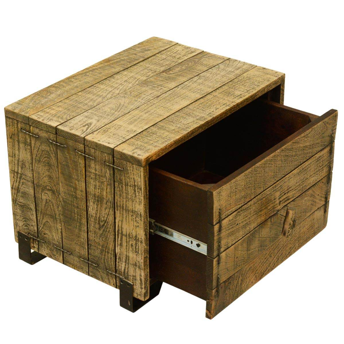 Wood Cube End Table Rustic Simplicity Reclaimed Wood End Table Cube W Drawer