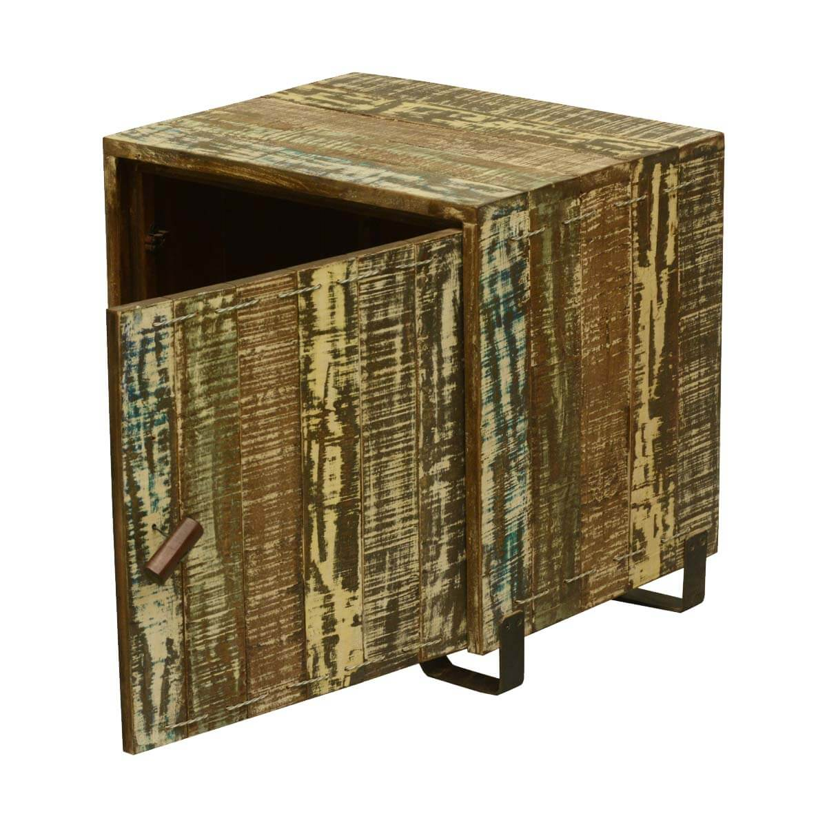 Wood Cube End Table Rustic Rural Reclaimed Wood End Table Cube Cabinet W