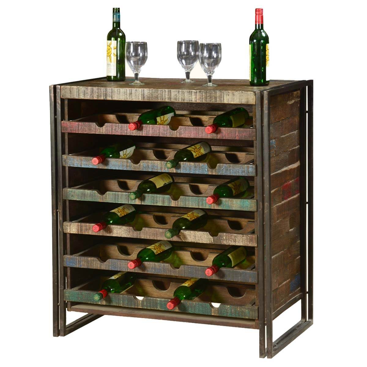 Small Wine Storage Cabinets Rustic Industrial Wooden Liquor Wine Storage Rack For 24