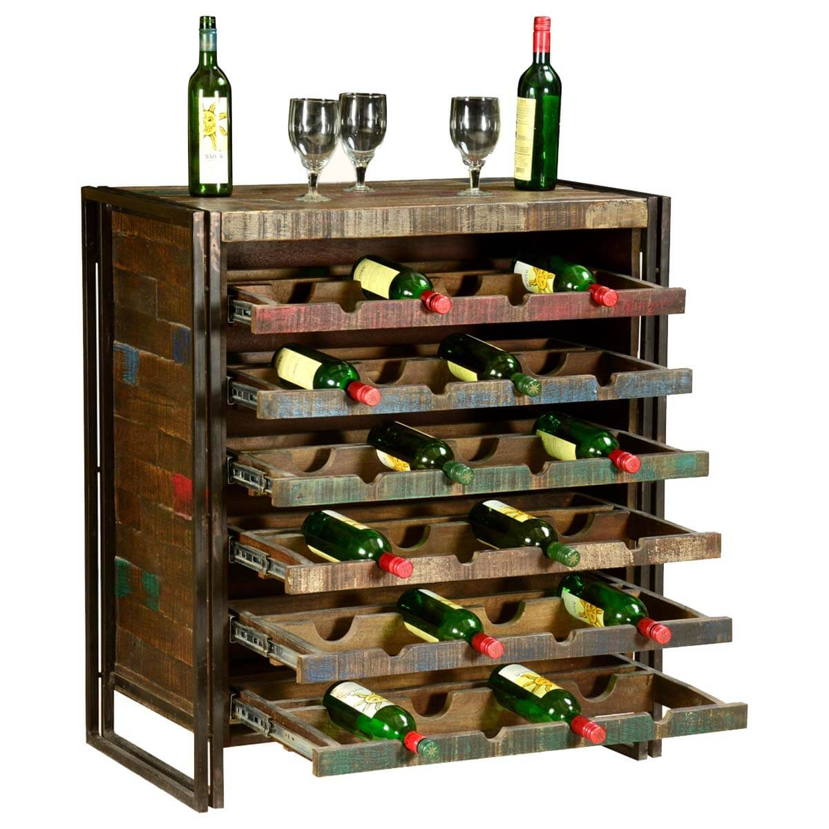 Wood Wine Storage Rustic Industrial Wooden Liquor Wine Storage Rack For 24