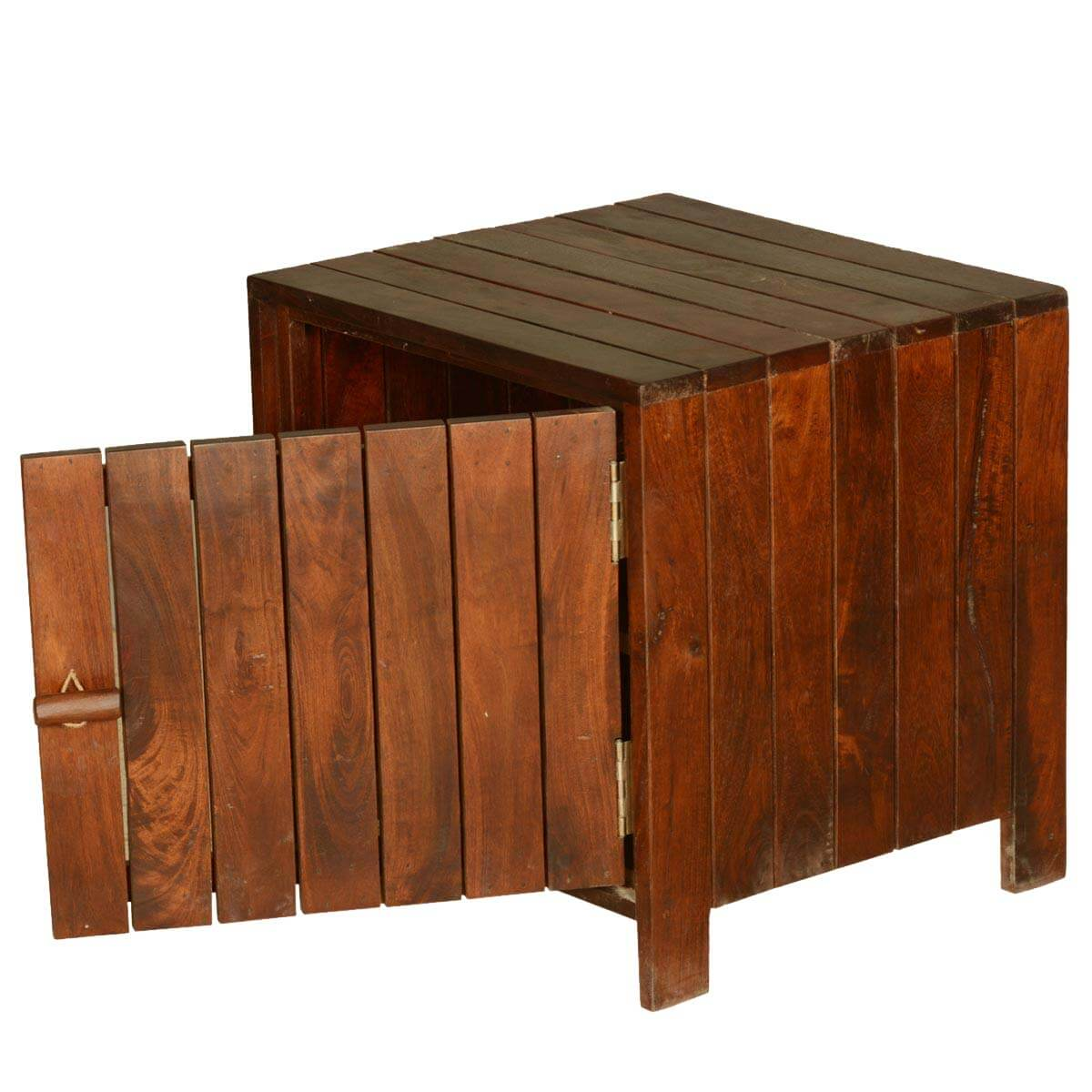 Wood Cube End Table Zest Contemporary Standing Cube Solid Teak Wood End Table